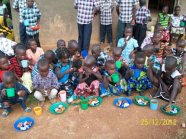 Some of the children enjoying Christmas Dinner