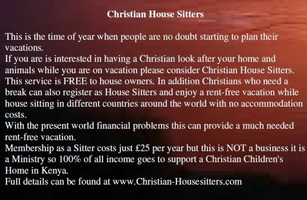 About Christian House Sitters